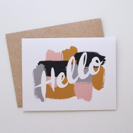 """Hello"" Card by Wild Hart Paper, available at Three Hearts Home"