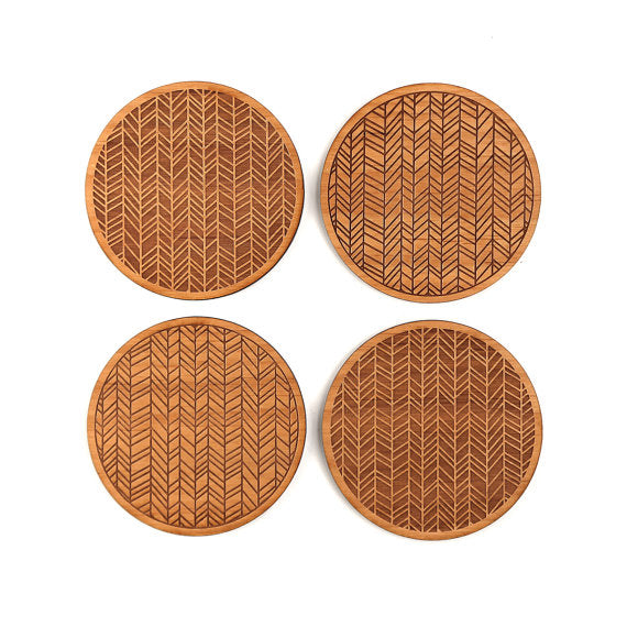Set of Four Wood Coasters | Herringbone
