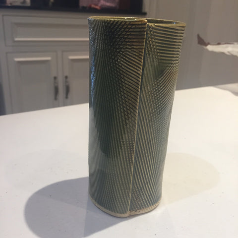 Anna White - Green Textured Tall Cup with Seam