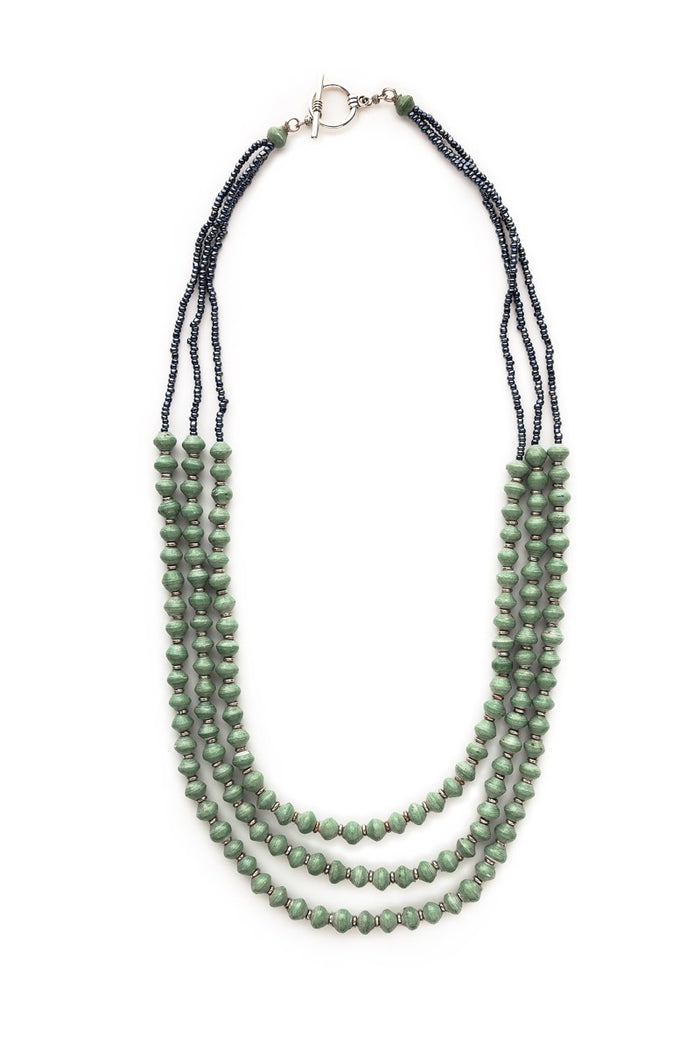 Three Strand Recycled Paper Necklace | Meadow Green