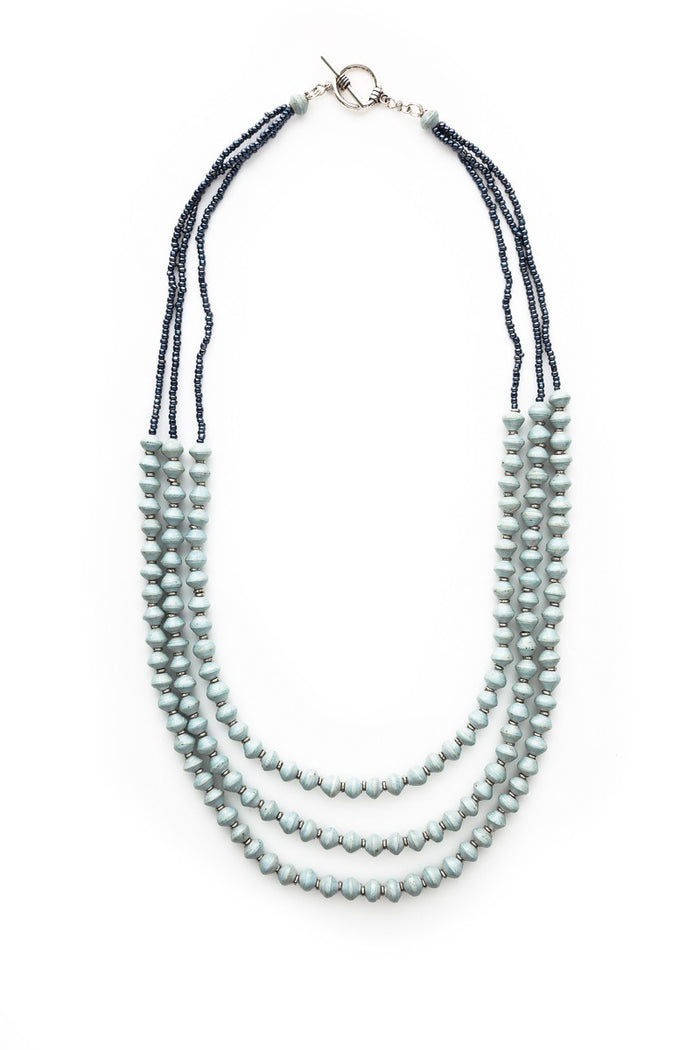 Three Strand Recycled Paper Necklace | Sky Blue