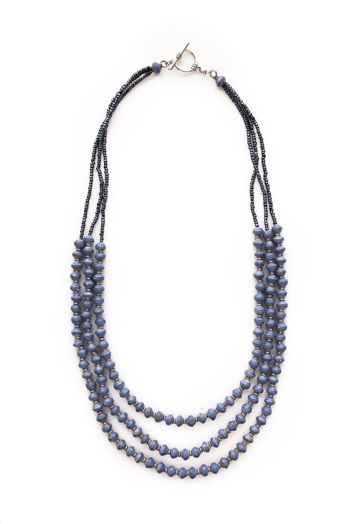 Three Strand Recycled Paper Necklace | Storm Blue