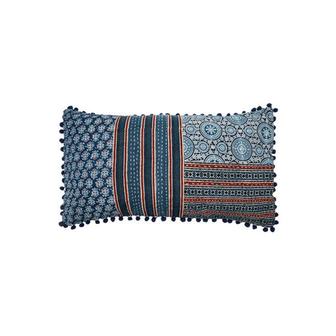 Long Patchwork Block Print Pillow | Blue