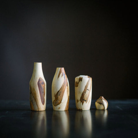 Spalted Maple Stickvases | Set of Four
