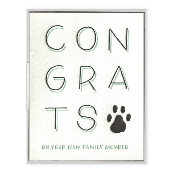 """Congrats on Your New Family Member"" Greeting Card by Ink Meets Paper, available at Three Hearts Home"