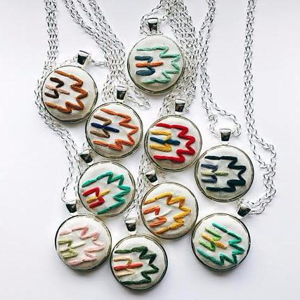 Embroidered Southwestern Pendant | Statement Necklace