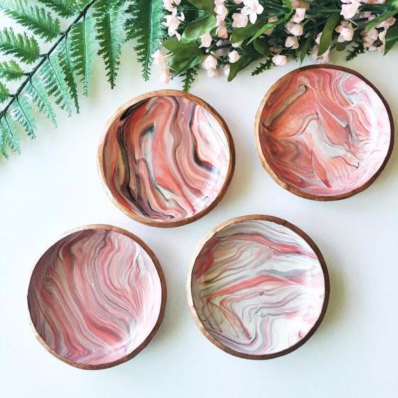 Marbled Polymer Clay Jewelry Dish | Carnelian and Copper | Trinket Dish