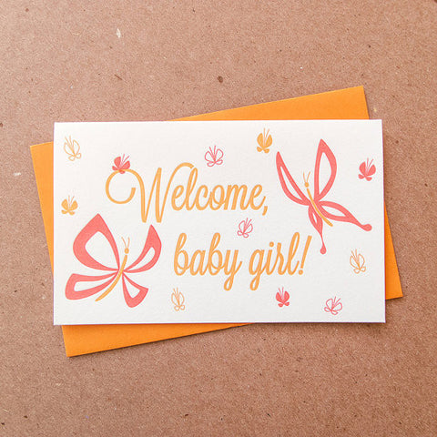 """Welcome Baby Girl"" Card"