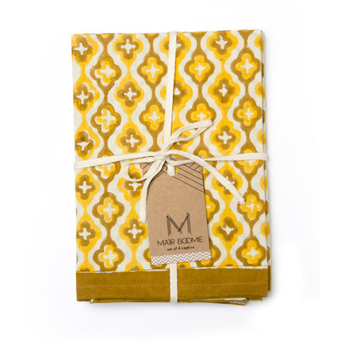 Block Print Window Napkins | Set of Four | Yellow
