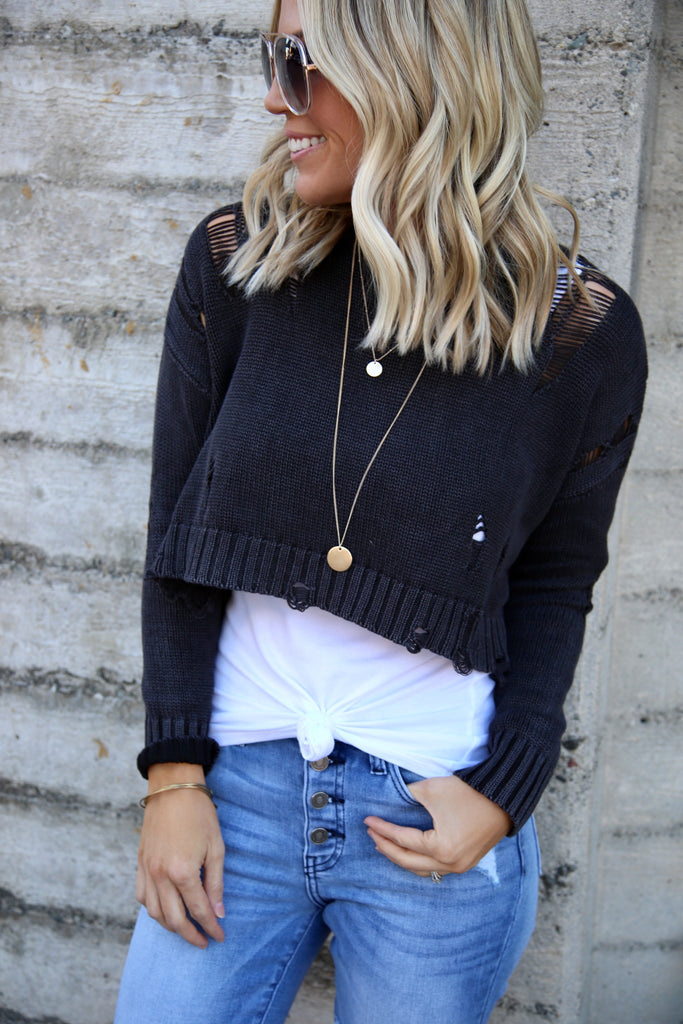 Demi Distressed Sweater - FINAL SALE