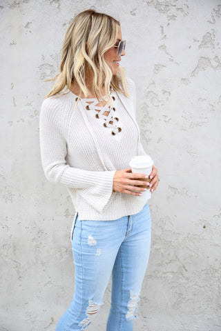 Gwen Lace Up Top - FINAL SALE