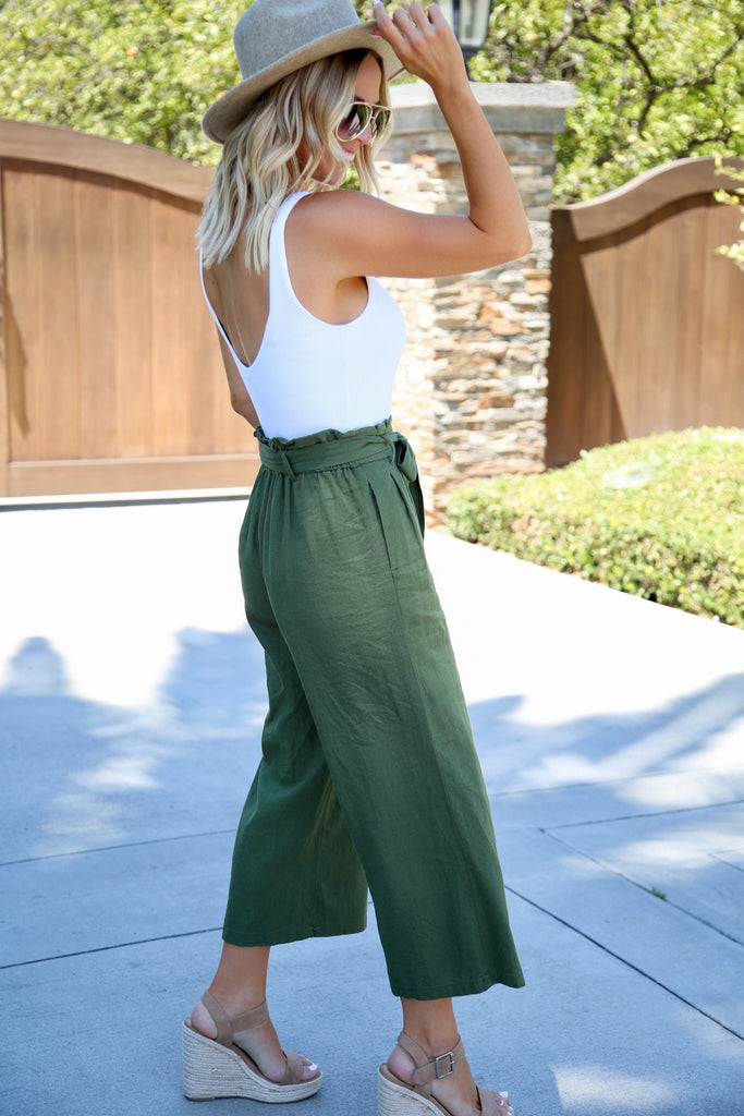 Ava Tie Waist Cropped Pants