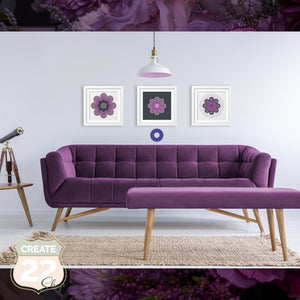Purple Grey Retro Flower Mandala - Coco Picture Frame