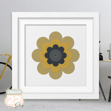 Load image into Gallery viewer, Mustard Grey Retro Flower Mandala - Gigi Picture Frame