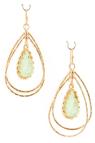 Open Druzy Teardrop Earrings - Mint - elle & k boutique