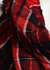 Lightweight Blanket Fringe Scarf - Red & Black Plaid