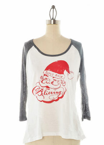 Judith March Don't Stop Believing Baseball Tee - elle & k boutique
