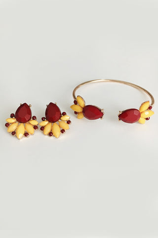 Garnet & Gold FSU Earrings & Bracelet Gameday Set - elle & k boutique