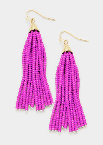 Fuchsia Beaded Tassel Earrings
