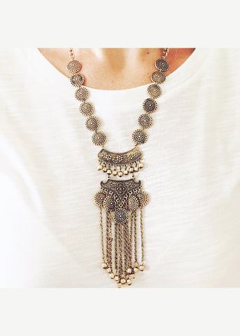 Metal Coin Tassel Statement Necklace - elle & k boutique