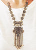 Metal Coin Tassel Statement Necklace