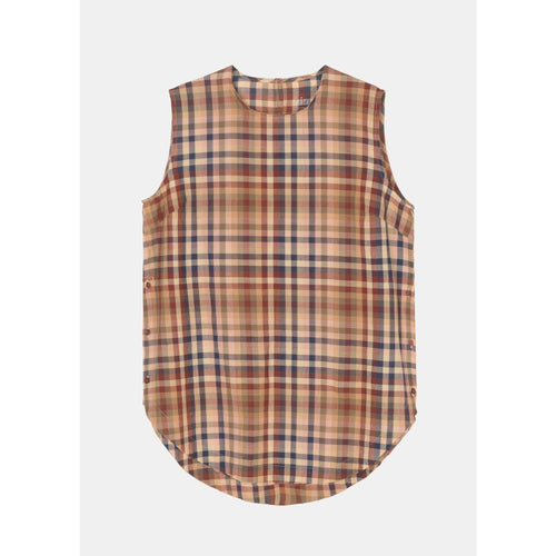 sleeveless mahogany toned plaid organic cotton blouse by designer aiayu