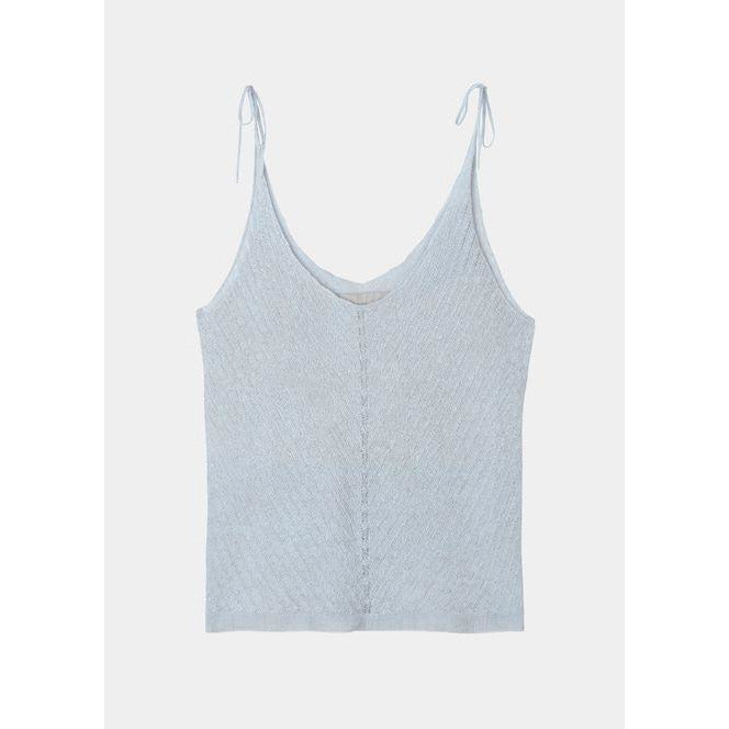 light blue cashmere tank top with diagonal knit pattern in the front and adjustable straps by designer aiayu