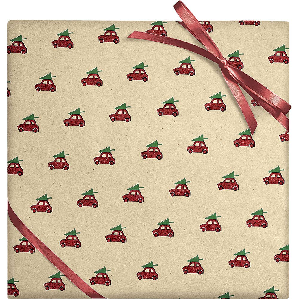 Wheat Glitter Cars on Kraft Continuous Roll Wrapping Paper