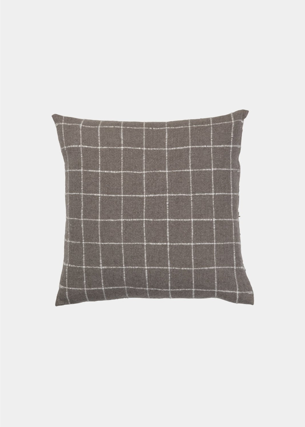 square grey pillows with thing white checkered pattern by designer aiayu