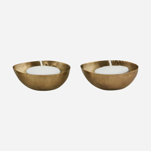 brass plated egg shaped dish for tea lights by house doctor