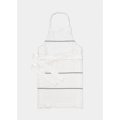 white and navy striped apron