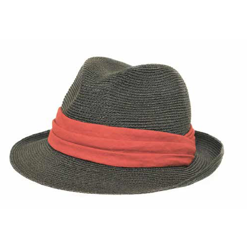 Grevi Straw Hat with Coral Band