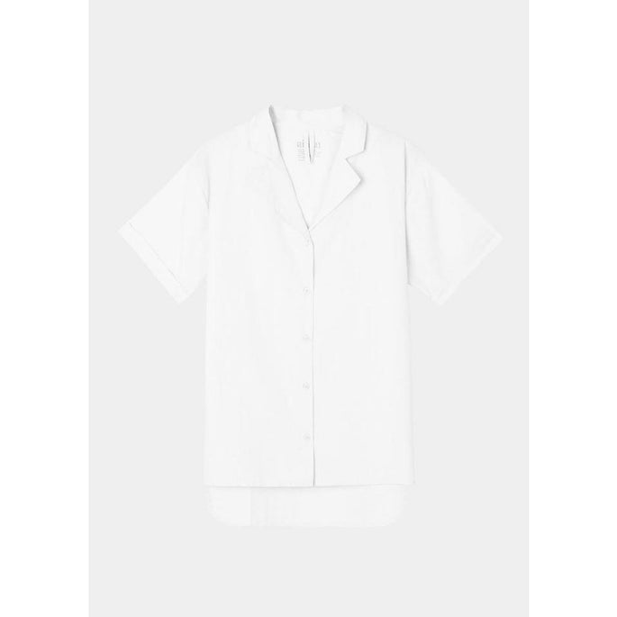 white short sleeve button up shirt by designer aiayu