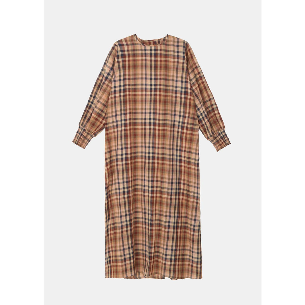organic cotton ankle length mahogany toned plaid dress with long sleeves cinched at the hem by designer aiayu