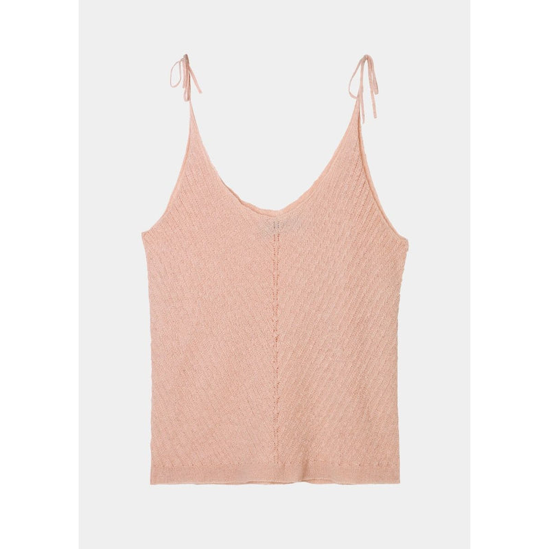 light pink cashmere tank top with diagonal knit pattern in the front and adjustable straps by designer aiayu