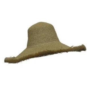 Dim Gray Natural Straw Hat with Raw Edge