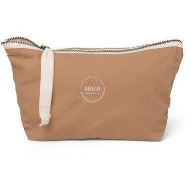 light brown mini pouch with white ribbon zipper by designer aiayu