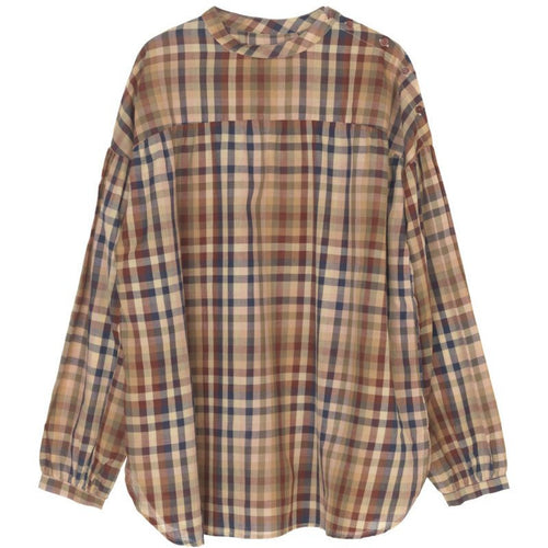 mahogany toned plaid long sleeve organic cotton button up by designer aiayu