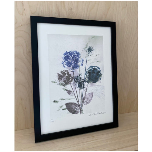 Flower Bouquet Blue Framed