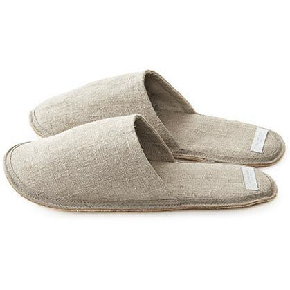 Rosy Brown Linen Slippers - Natural