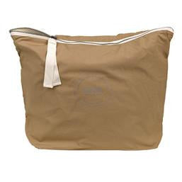 brown organic cotton pouch with white ribbon zip closure by designer aiayu