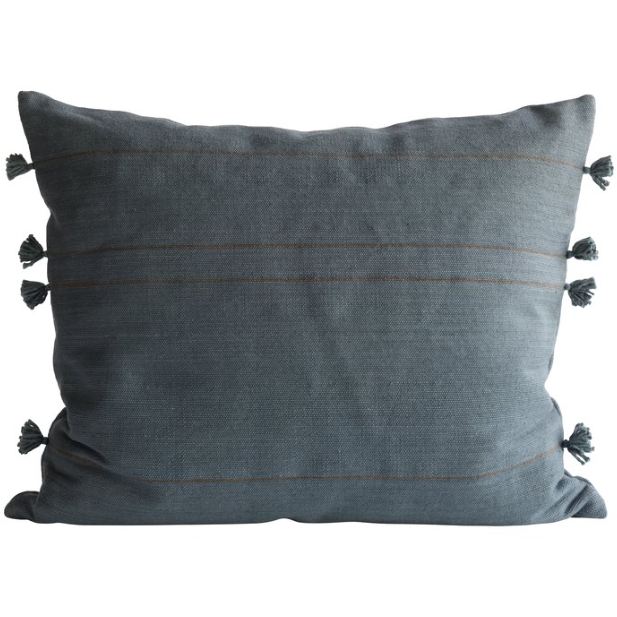 organic cotton pillow in dark blue color with tassels on the edges by designer tine k