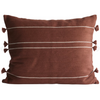 organic cotton pillow in dark red color with tassels on the edges by designer tine k