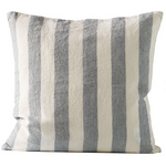 square light grey and white striped linen pillow by designer tine k