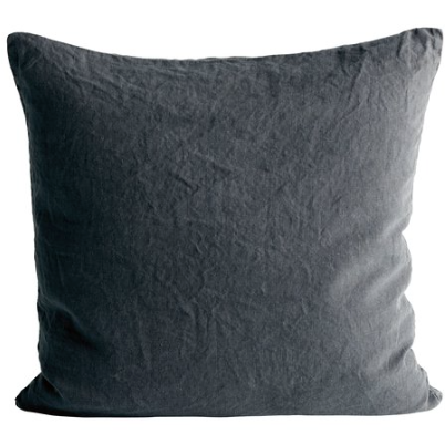 square grey linen pillow by designer tine k