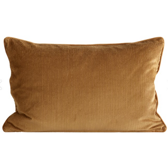 rectangular corduroy pillow in warm amber color by designer tine k