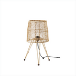 small woven raffia table lamp by designer tine k