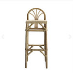 high rattan bar stool with low rounded backrest