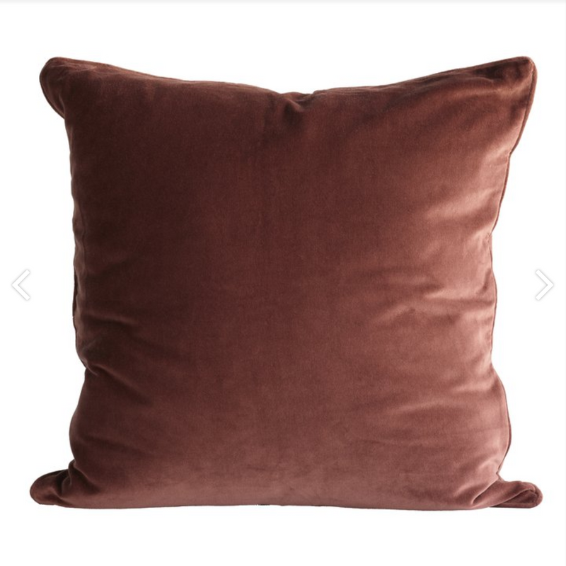 square rust colored velvet pillow by designer aiayu