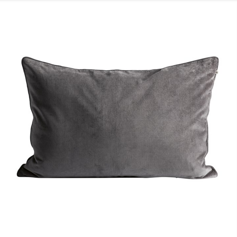 rectangular dark grey velvet pillow by designer aiayu